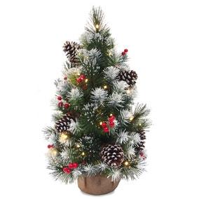 2ft Silver Bristle Berry & Pine Pre-Lit Christmas Tree