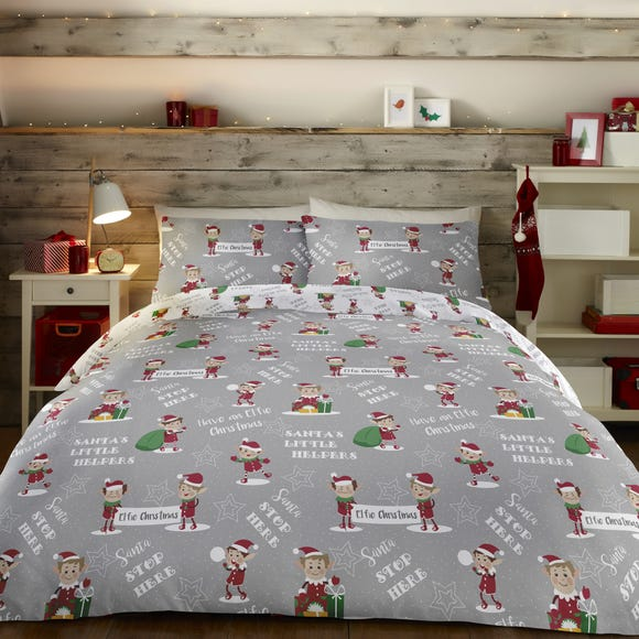 Christmas Elfie Duvet Cover and Pillowcase Set Grey undefined