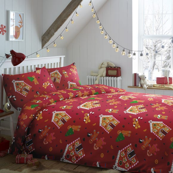 Gingerbread Man Duvet Cover and Pillowcase Set Red undefined