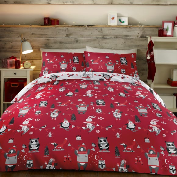 Christmas Party Duvet Cover and Pillowcase Set Red undefined