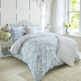 Holly Willoughby Etta Blue 100% Cotton Reversible Duvet Cover and Pillowcase Set