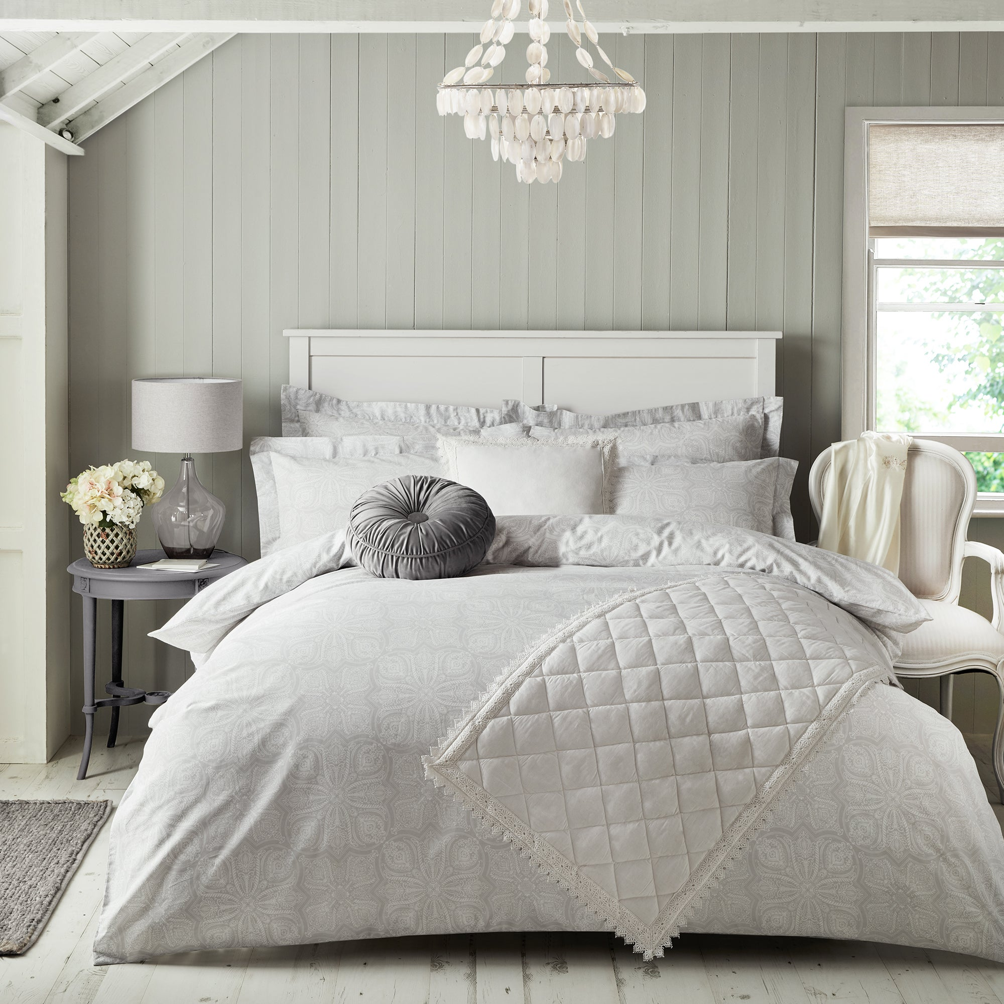 Holly Willoughby Holly Willoughby Zuri Grey 100% Cotton Duvet Cover and Pillowcase Set Grey | Single