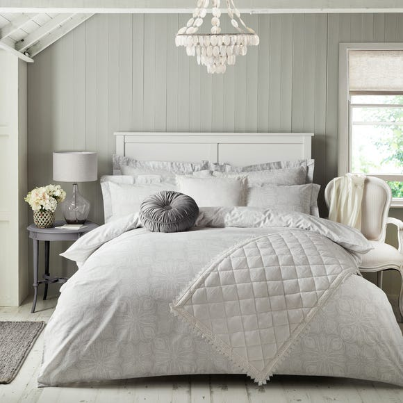 Holly Willoughby Zuri Grey 100% Cotton Duvet Cover and Pillowcase Set Grey undefined