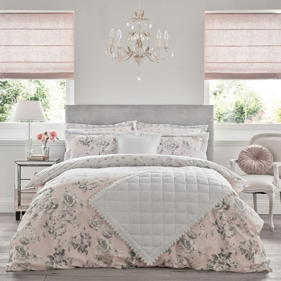 Holly Willoughby Tamsin Pink 100% Cotton Reversible Duvet Cover and Pillowcase Set Pink undefined