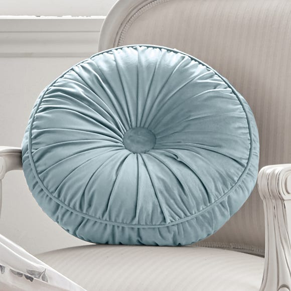 Holly Willoughby Lexi Blue Velvet Round Cushion Blue