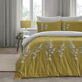 Oriental Flower Ochre Duvet Cover and Pillowcase Set