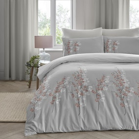 Oriental Flower Grey Blush Duvet Cover and Pillowcase Set