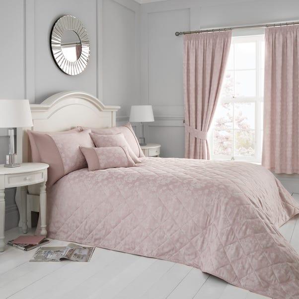 Serene Blossom Blush Bedspread Dunelm, Blush Pink And Grey Bedding Dunelm