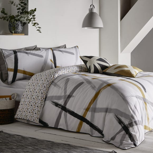 Appletree Leda Abstract Print Reversible 100% Cotton Duvet Cover and Pillowcase Set Grey undefined