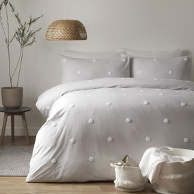 Appletree Dot Silver 100% Cotton Duvet Cover and Pillowcase Set