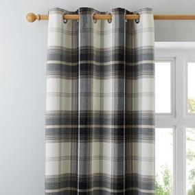 Highland Check Charcoal Eyelet Curtains