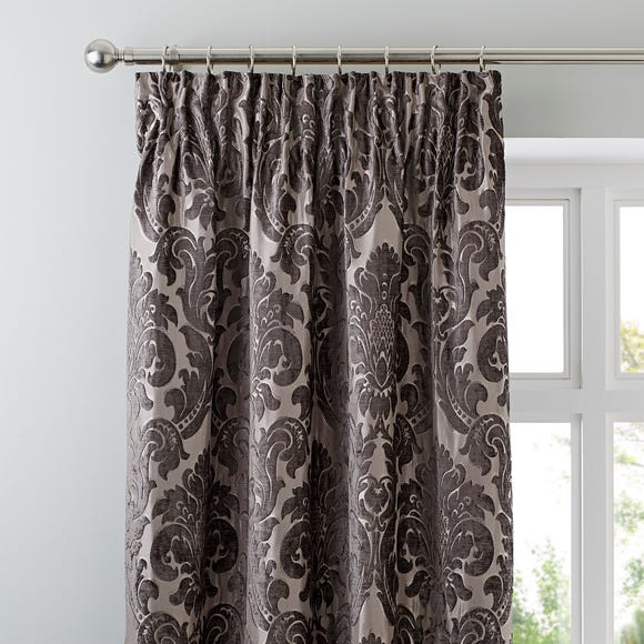Versailles Charcoal Pencil Pleat Curtains Charcoal (Grey) undefined