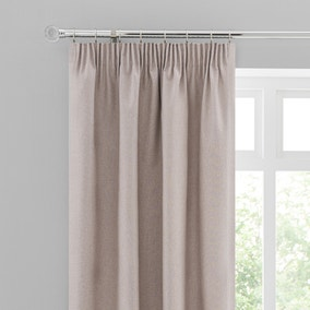 Luna Brushed Pebble Blackout Pencil Pleat Curtains