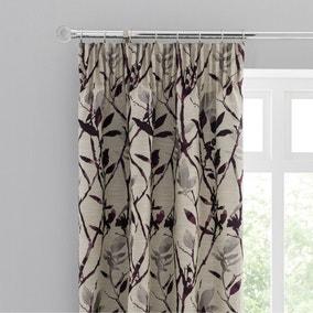 Zen Jacquard Plum Pencil Pleat Curtains