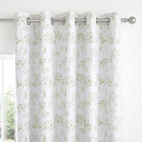 Felicity White Floral Blackout Eyelet Curtains