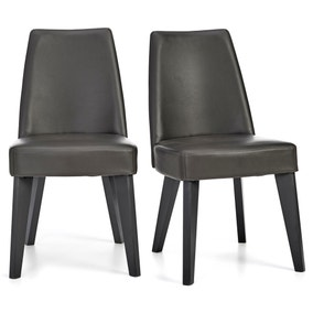 Brunel Set of 2 Dining Chairs Brown PU
