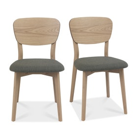 Dansk Set of 2 Veneer Back Chairs Light Oak