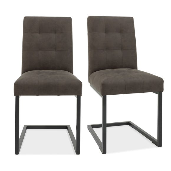 Indus Set of 2 Dining Chairs Grey PU Leather Grey