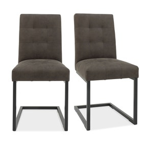 Indus Set of 2 Dining Chairs Grey PU Leather