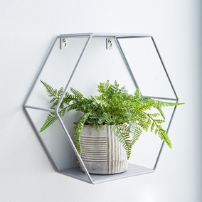 Hexagonal Grey Wall Shelf