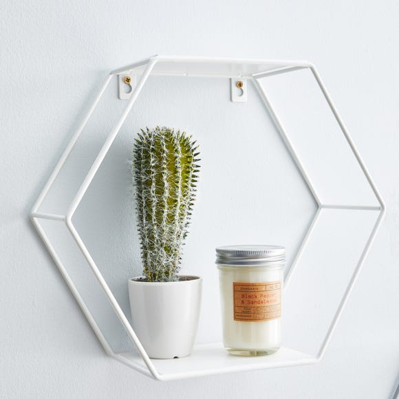 Hexagonal White Wall Shelf
