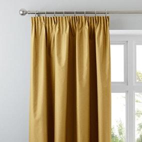 Nova Old Gold Blackout Pencil Pleat Curtains
