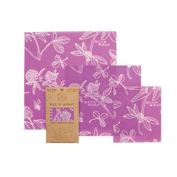 Pack of 3 Assorted Sizes Purple Bees Wax Wraps Yellow