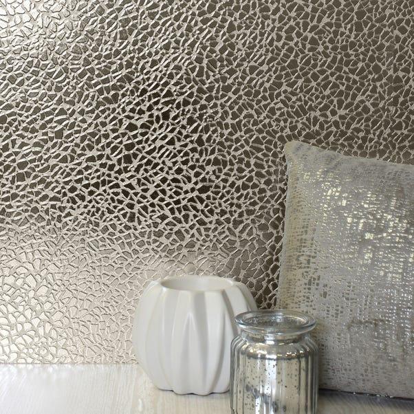 Platinum Mirror Textured Champagne Wallpaper Champagne