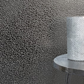 Platinum Mirror Textured Gunmetal Grey Wallpaper