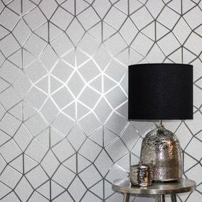 Platinum Silver Geo Trellis Wallpaper