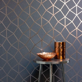 Platinum Rose Gold Geo Trellis Wallpaper