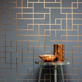 Platinum Rose Gold Geo Square Wallpaper