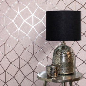 Platinum Blush Geo Trellis Wallpaper