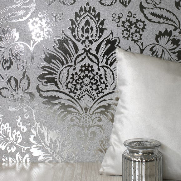 Platinum Silver Damask Wallpaper Silver