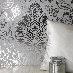 Platinum Silver Damask Wallpaper