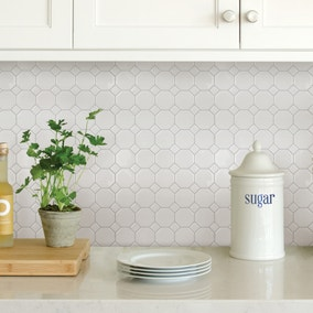 InHome White Octagon Self Adhesive Backsplash Tiles