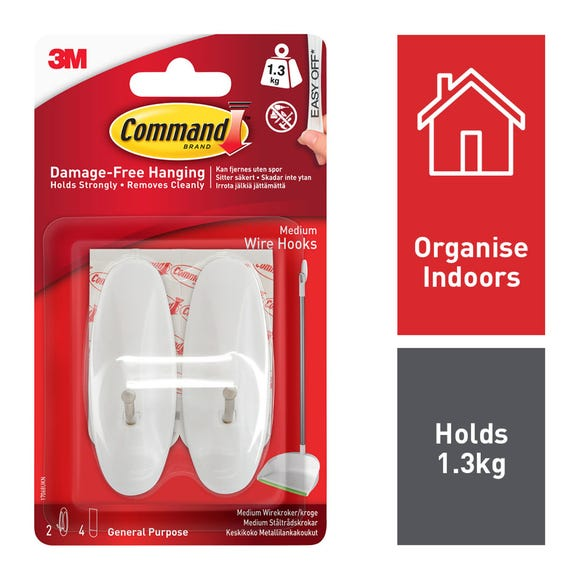 Command Medium Wire Hooks White