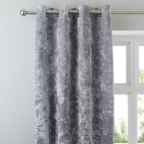 Crushed Velour Silver Eyelet Curtains