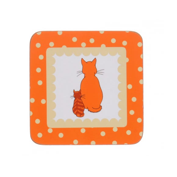 Ulster Weavers Pack of 4 Cats in Waiting Coasters Orange
