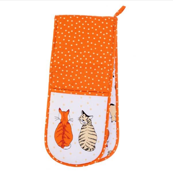 Ulster Weavers Cats in Waiting Double Oven Glove Orange