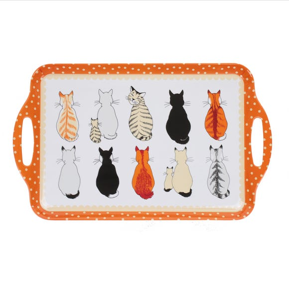 Ulster Weavers Cats in Waiting Large Melamine Tray Orange