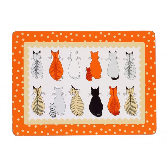 Ulster Weavers Cats in Waiting Pack of 4 Placemats Orange