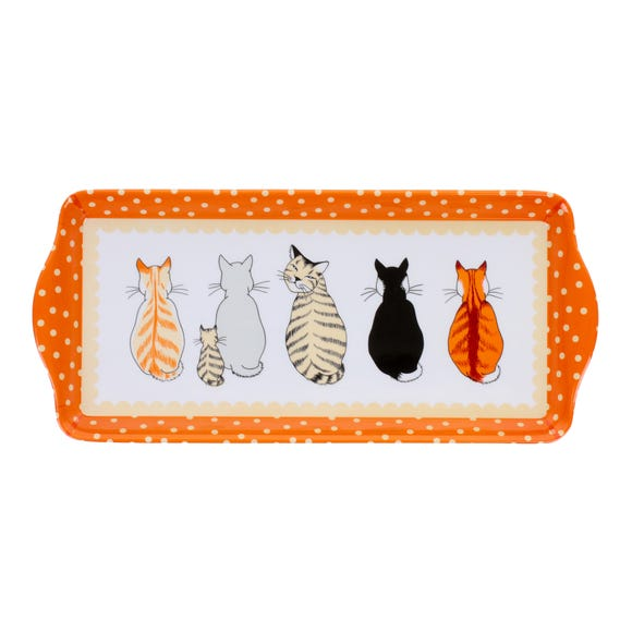 Ulster Weavers Cats in Waiting Small Melamine Tray Orange