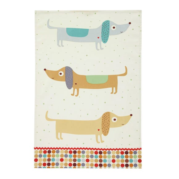 Ulster Weavers Hot Dog Sausage Dog Cotton Tea Towel Off-White