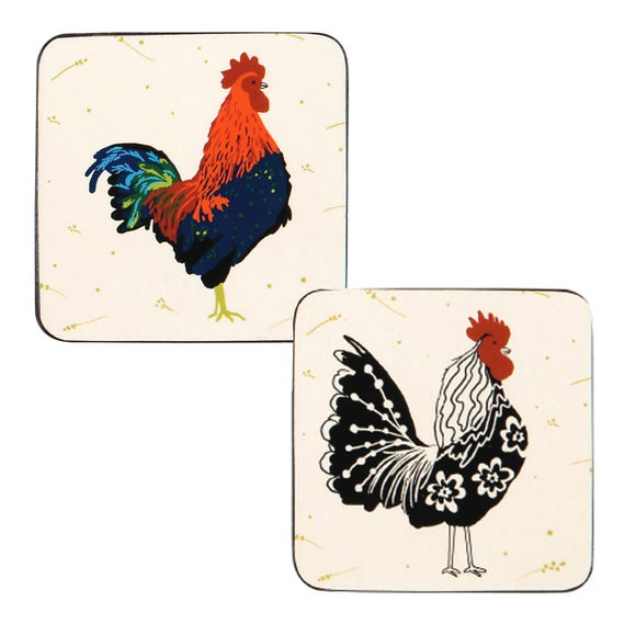 Ulster Weavers Rooster Set of 4 Coasters Off-White