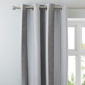 Parker Grey Chenille Eyelet Curtains
