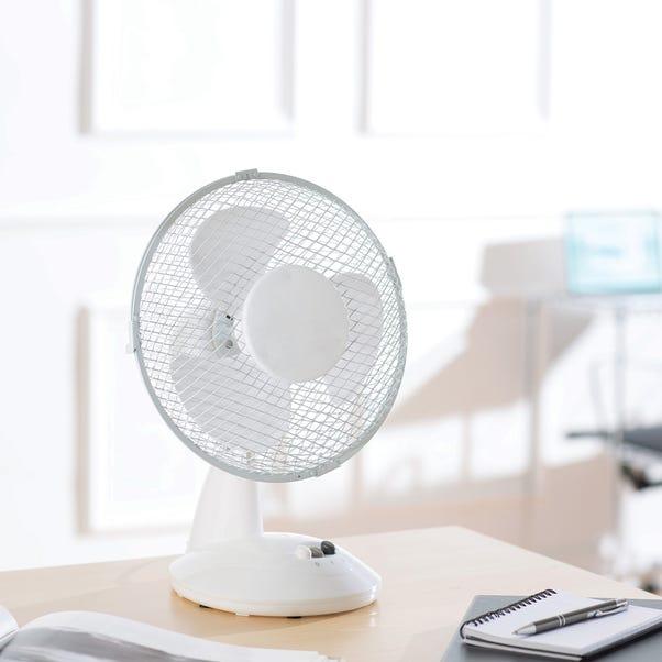 "9"" White Desk Fan White"
