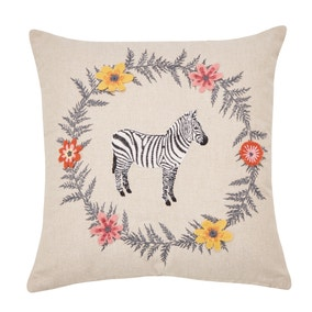 Zebra Embroidered Natural Cushion