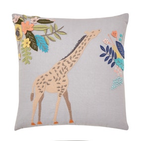 Giraffe Embroidered Grey Cushion