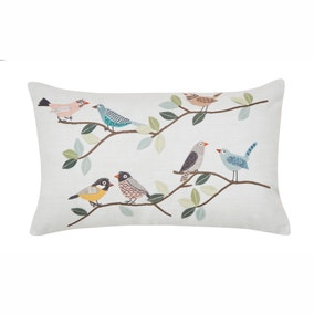 Birds Embroidered Duck Egg Cushion